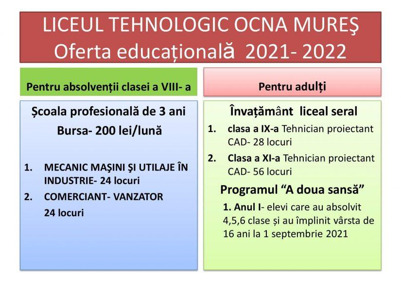 Oferta educațională a Liceului Tehnologic Ocna Mures pentru anul școlar 2021-2022